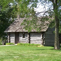 Replica 'Little House in the Big Woods' cabin, seven miles northwest of Pepin, Wisconsin.