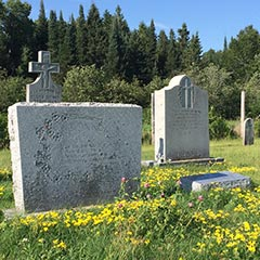 The Dionne family plot in the Sacred Heart Cemetery, East Ferris Twp, Ontario.