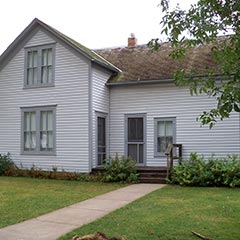 "Third Street home built by Charles ""Pa"" Ingalls in De Smet, South Dakota. Charles and Caroline lived here until their deaths in 1902 and 1924, respectively."