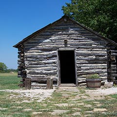 Replica 'Little House on the Prairie' cabin, fourteen miles southwest of Independence, Kansas.