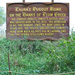 Site of the Ingalls family's dugout on the banks of Plum Creek, Walnut Grove, Minnesota.